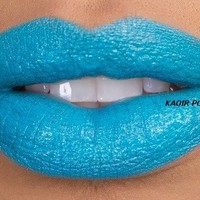 "KA'OIR By Keyshia KAOIR ""Pool Party"" Turquoise Bright Blue Lipstick"