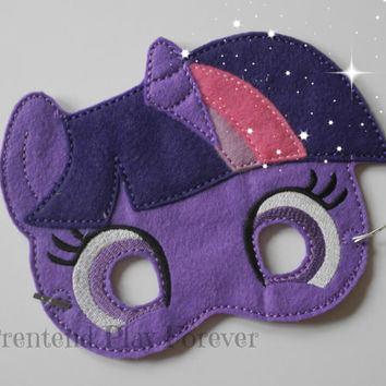 READY TO SHIP Pony Inspired Pretend Mask, Felt Pony Mask, Pony Party Favors, Twilight Pony Mask, Pretend Play, Imagination Toys