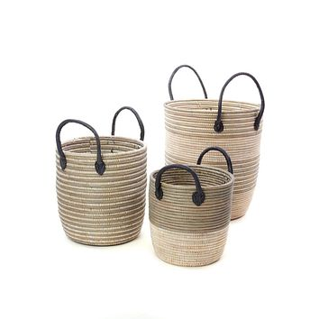 Set/3 Silver Mixed Stripe Baskets with Leather Handles
