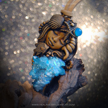 OOAK Aqua Aura Mermaid clay pendant
