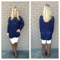Navy Distressed Knit Sweater