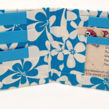Hawaiian Blue Flowers Floral Duct Tape Wallet by PyrateWench