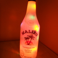 Malibu coconut rum bottle with lights