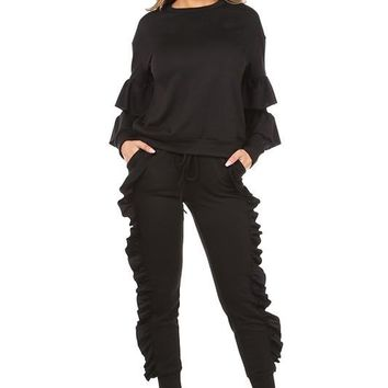 RUFFLE DETAILED PULL OVER AND JOGGER SET