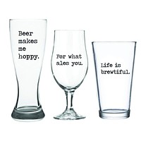 Beer Makes Me Hoppy - 3 Piece Beer Glass Set