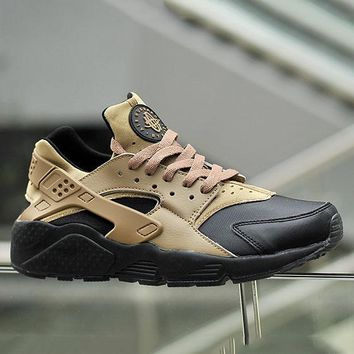 """NIKE""AIR Huarache Running Sport Casual Shoes Sneakers Khaki Black Soles G-CSXY"