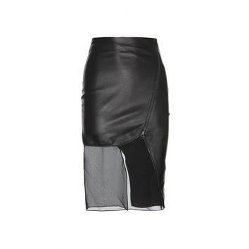 altuzarra - jodie leather skirt with sheer insert