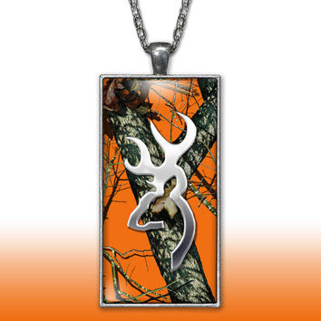 Orange Camo Pendant Charm Necklace Deer Head Browning Country Girl Custom Necklace Hunting Silver Plated Jewelry
