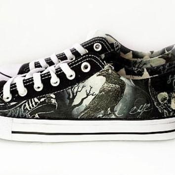 Gothic haunted shoes, custom converse style pumps, skull shoes, black bird, crow print