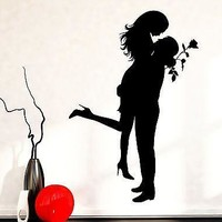Wall Decal Love Romantic Girl Man Rose Family Vinyl Sticker Unique Gift (z3594)