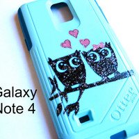 Galaxy Note 4 OTTERBOX Case - Otterbox Commuter Glitter Case for Galaxy Note 4 - Sparkly Owl New Samsung Galaxy Note 4