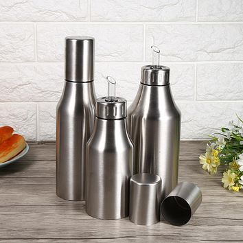 Stainless Steel Oil Pot Can Drizzling Oil Vinegar Dispenser Kitchen Accessories Cooking Tools 500ml-1000ml Storage Bottles