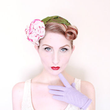 1950s Hat / VINTAGE / 50s Hat / Gardenia / Flower Crown / Headpiece / Fascinator / WOW