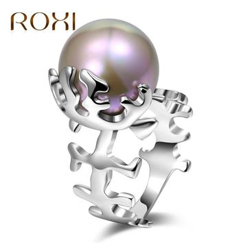ROXI White Gold Ring Pearl for Women Fish Bone Trendy Jewellery Dropshipping anel anillos aneis bagues femme Statement Jewelry