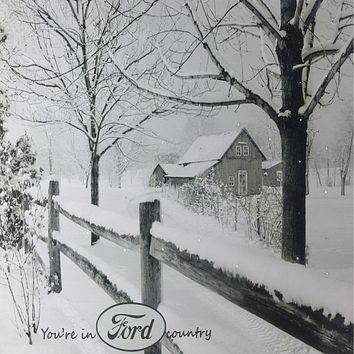 "Fiber Optic Lighted ""You're in Ford Country"" Snowy Cabin Canvas Wall Art 12"" x 15.75"""