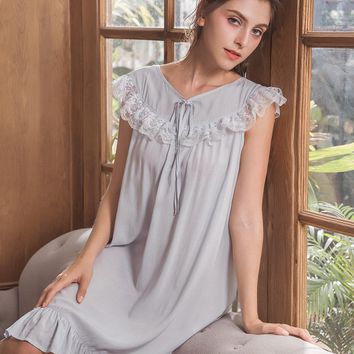 Summer Nightgown Lace Princess Cotton Sleepshirt Women Short Sleepwear Nightwear Female Sleep Nightdress Nighties Home Wear