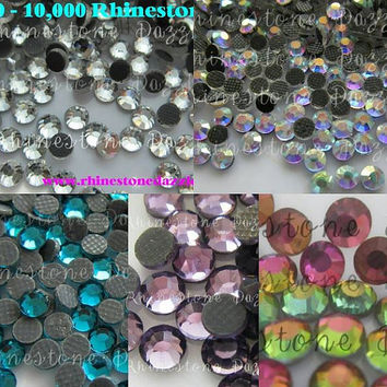 10,000pcs Hotfix ss10 Crystal Rhinestones, 10,000pcs Hotfix 3mm Crystal Rhinestones, 5 colors 2000pcs each color, bulk hotfix rhinestones