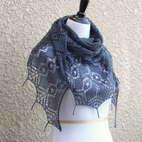 Knit shawl with beads, lace shawl in grey color, gifr for her
