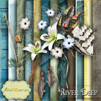 River Deep - Digital Scrapbook Kit - Printable Backgrounds - 12x12 inch Papers - FREE Quickpage Layout