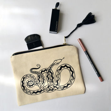 Snake makeup bag, 100% cotton, with original hand drawn illustration