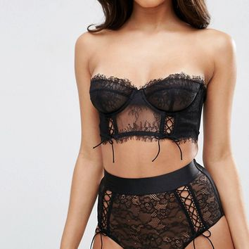 23e4f6bf19 ASOS FAYE Satin   Lace Up Underwire Bustier Bra at asos.com