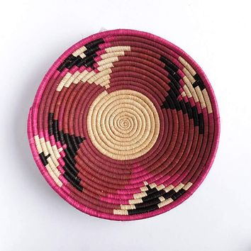 Pink, Black and White Basket from Rwanda