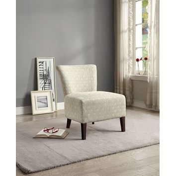 Homelegance Cotati Accent Chair In Medium Blue Pattern Over Cream Colored Fabric