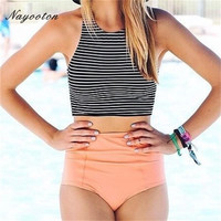 2016 new black white striped design Two Piece swimsuit high waist women's swimming suit Simple and simple bikini swimwear D019