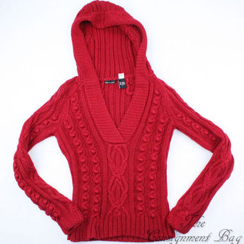 Victoria's Secret Moda International Rich Red Hooded Sweater - Size Small