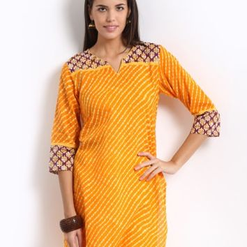 Jaipur Kurti Women Orange & Yellow Printed Kurta | Myntra