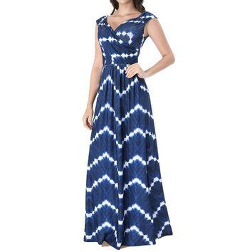 Womens Sexy V Neck Ruched Draped Front Pockets Pleated Summer Casual Evening Party Fit Flare A-Line Maxi Long Dress 3060