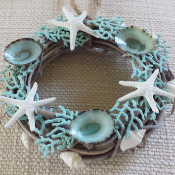 Beach Christmas Ornament, Beach Christmas Wreath, Starfish Ornament, Beach Decor, Christmas Ornament, Christmas Wreath.