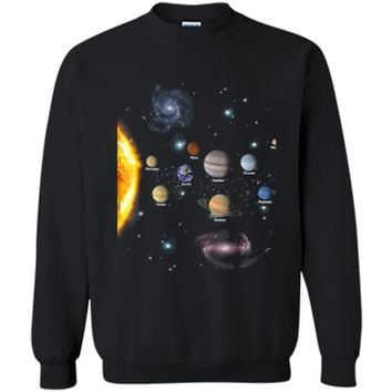 Solar System T Shirt - Awesome Gift Tshirt For Space Geeks Printed Crewneck Pullover Sweatshirt