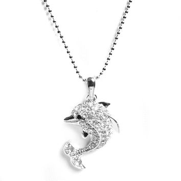 Silver Plated Leaping High Dolphin Necklace