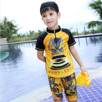 Baby Boy Rash Guard Bumblebee Swimsuit Kids Clothes 2017 Summer UV Protect Swimwear Bord Shorts Kids Clothes Boys Bathing suit
