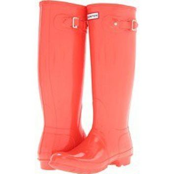 HUNTER ORIGINAL GLOSS TALL FLAME WELLINGTON BOOTS Welly RED ORANGE