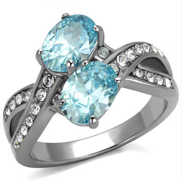 Beautiful Soul - Sea Blue Stones With CZ Crystal Cocktail Stainless Steel Ring