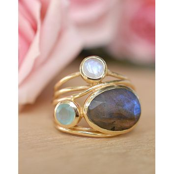 Dayna  Ring- Labradorite, Aqua Chalcedony and Moonstone (BJR060)