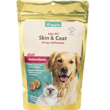 NaturVet Skin & Coat Allergy Aid Pet Soft Chews 90ct