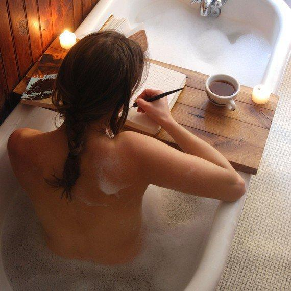 Wood Tub Caddy Reclaimed Oak cozy autumn/winter bath by PegandAwl