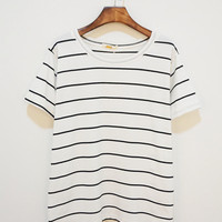 White Striped Short Sleeve Shirt