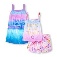 Baby And Toddler Girls Sleeveless 'Mermaid Squad' Nightgown Top And Shorts 3-Piece PJ Set | The Children's Place