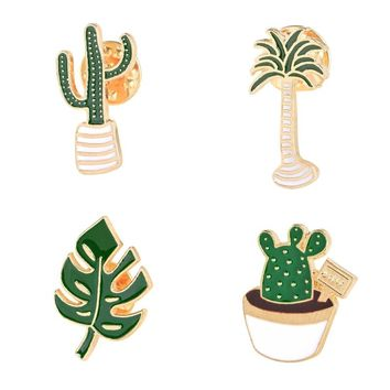 Lovely Badge Plant Potted Collar Shoe Lips Enamel Brooch  Coconut Tree Cactus Leaves Decorative Clothing Cartoon Pins Badge