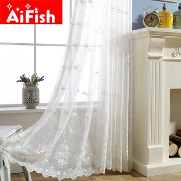 White Beautifully Fairy Embroidery Pearl Screens Crafts Yarn Europe Country Style Gauze Curtain For Living Room Luxury MY035-30