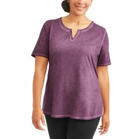 Plus 4X Terra & Sky Purple Oxford Split V-Neck Shirt Tee