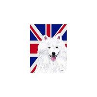 Caroline's Treasures American Eskimo with English Union Jack British Flag House Flag