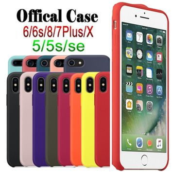 Have LOGO Original Official Silicone Case For iPhone 7 8 X Case For iPhone 6 6S Plus Phone Cover For iPhone 5 XR XMax Cases Capa