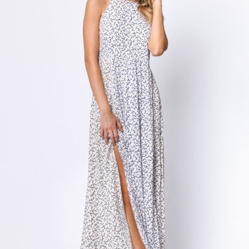 Floral Spaghetti Strap Maxi Dress With Side Slits