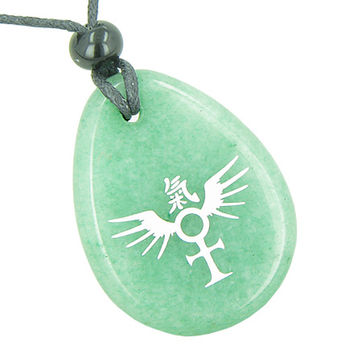 Ankh Egyptian Power of Life Freedom Spirit Wings Kanji Green Quartz Pendant Necklace