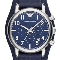 Men's Emporio Armani Chronograph Leather Cuff Watch, 41mm - Navy/ Silver